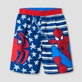 Spiderman Toddler Boys' Stars and Stripes Swim Trunks - Red/Blue