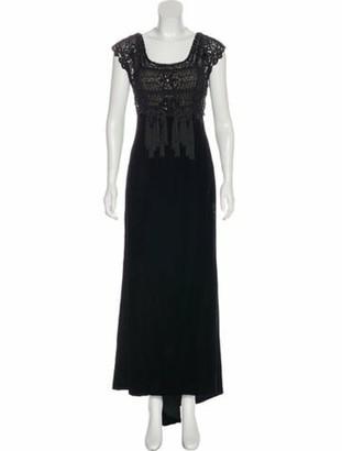 Oscar de la Renta Velvet Evening Dress Black