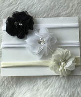 Black Floral Headband Set