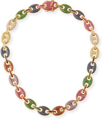 Fallon Toscano Pave-Link Necklace, Multicolor