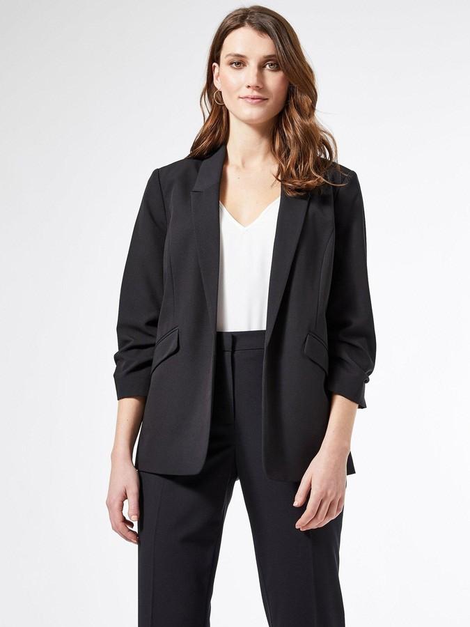 Dorothy Perkins Ruched Sleeve Jacket - Black