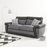 Geo Fabric and Faux Leather 3-Seater Sofa