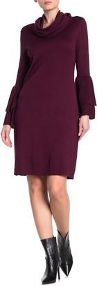 Nina Leonard Cowl Neck Bell Sleeve Sweater Dress