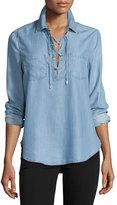 Paige Billie Lace-Up Chambray Shirt, Ashlyn