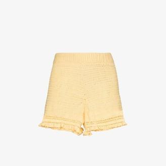 She Made Me Ruffled crochet shorts