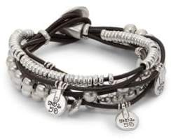 Uno de 50 Leather and Bead Charm Bracelet