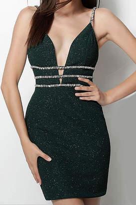 Jovani Emerald Plunging Neck Spaghetti Straps Short Dress