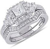 Concerto 14K White Gold Halo 1.25 TCW Diamond Bridal Set