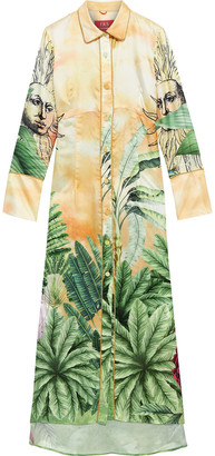F.R.S For Restless Sleepers Briareo Printed Cupro-blend Satin-jacquard Maxi Shirt Dress