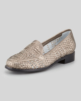 Sesto Meucci Alice Woven Metallic Leather Loafer, Pewter