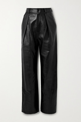 Michael Lo Sordo Leather Pleated Wide-leg Pants - Black