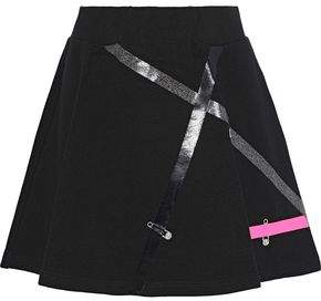 Versace Flared Appliqued French Cotton-terry Mini Skirt
