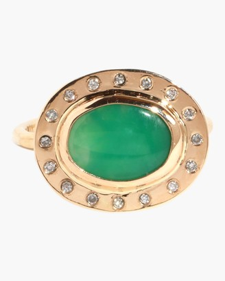 Melissa Joy Manning Horizontal Chrysoprase And Diamond Ring