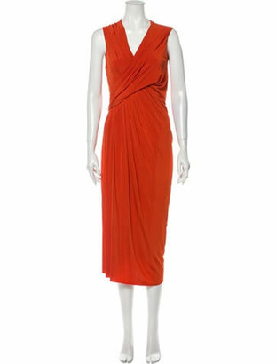 Jason Wu Collection V-Neck Midi Length Dress w/ Tags Orange