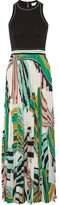 Emilio Pucci Stretch-ponte And Pleated Printed Stretch-jersey Maxi Dress - Green