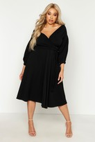 boohoo Plus Off Shoulder Wrap Midi Dress