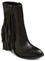 Mossimo Women's Nola Leather Fringe Booties Black
