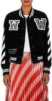 Off-White Women's Cotton Corduroy Crop Varsity Jacket