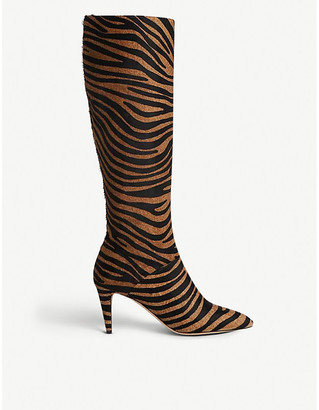 LK Bennett Gini zebra-patterned calf-hair knee-high boots