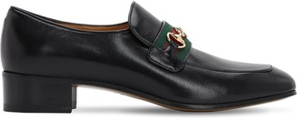 Gucci 35mm Aylen Leather Loafers W/ Web Band