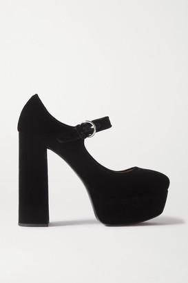 Miu Miu Velvet Platform Pumps - Black