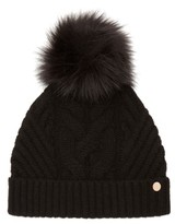 Ted Baker Women's Cable Knit Beanie With Faux Fur Pom - Black