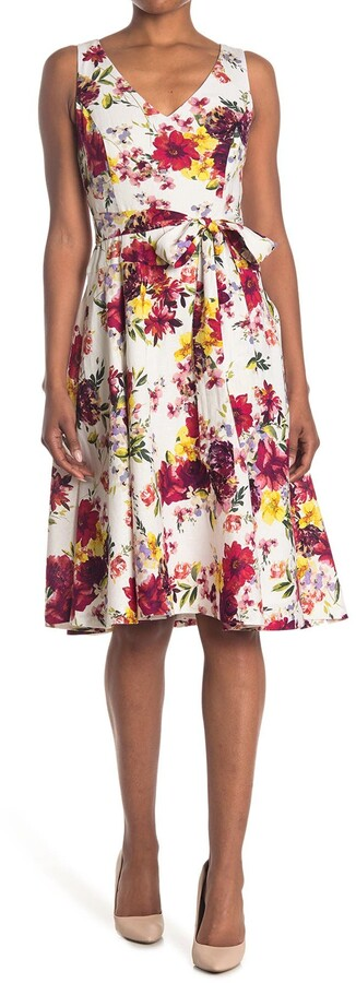 Thumbnail for your product : Taylor Printed V-Neck Linen Dress