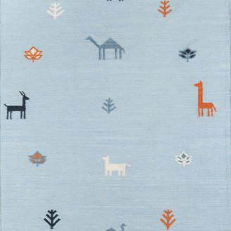 Momeni Erin Gates by Thompson Porter Blue Hand Woven Wool Area Rug 7'6