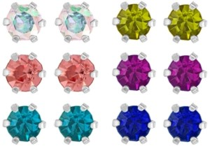 Rhona Sutton 4 Kids Children's Colored Cubic Zirconia Stud Earrings - Set of 6 in Sterling Silver