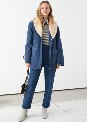 And other stories Organic Cotton Shearling Collar Denim Coat