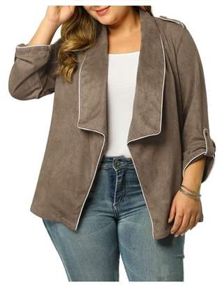 Unique Bargains Women's Plus Size Open Front Faux Suede Blazer Office Jackets Khaki 4X
