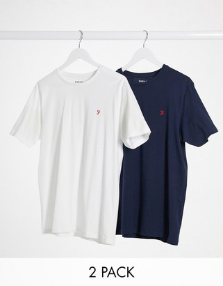 Farah 2 pack Dornoch lounge t-shirt in navy and white