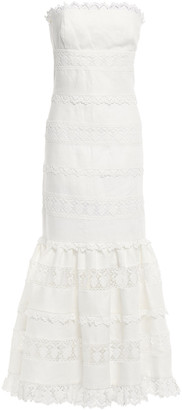 Zimmermann Strapless Linen And Guipure Lace Maxi Dress