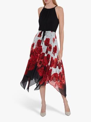 Gina Bacconi Solid Bodice and Printed Skirt Dress, Black/Multi