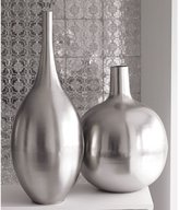 Brushed Metal Vases - Silver
