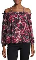 Parker Zola Cold-Shoulder Floral-Print Silk Blouse, Burgundy Multicolor