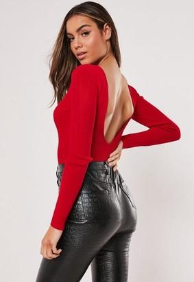 Missguided Red V Back Knit Bodysuit