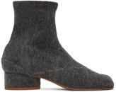 Maison Margiela Black Denim Low Heel Tabi Boots