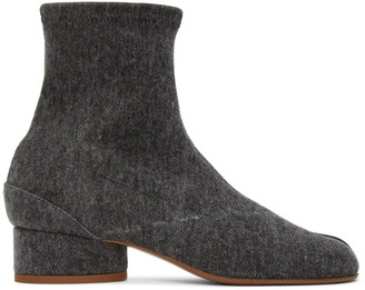 Maison Margiela Black Denim Low Heel Tabi Boots