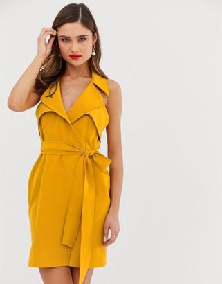 Asos Design DESIGN mini belted trench dress in soft crepe-Orange