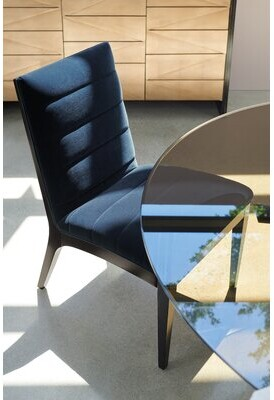 Modern Edge Upholstered Side Chair in Blue Caracole Modern