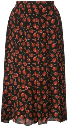 No.21 Candy Apple Print Pleated Skirt