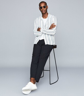 Reiss Chince - Striped Grandad Collar Shirt in Soft Blue Stripe