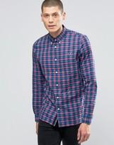 Fred Perry Shirt In Gingham Herringbone In Carmine In Slim Fit