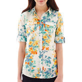 JCPenney St. John's Bay St. Johns Bay Elbow-Sleeve Roll-Tab Campshirt - Tall