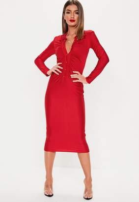 Missguided Red Slinky Collar Bodycon Midaxi Dress