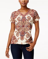 Style&Co. Style & Co Printed Cuffed-Sleeve Top, Created for Macy's