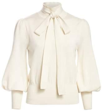 Zimmermann Eye Spy Tieneck Merino Wool Puff-Sleeve Sweater