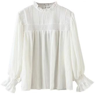 Goodnight Macaroon 'Mya' Ruffle Neck Long Sleeve Off-White Cotton Blouse