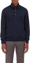Barneys New York Men's Fine-Gauge Zip-Front Sweater-NAVY